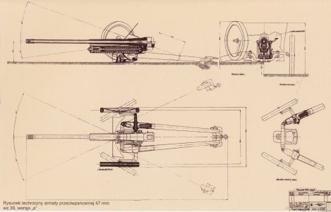Las dos versiones del arma de 47 mm wz.39