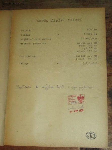 El documento que muestra el sello del Czołg Lekki Polski.